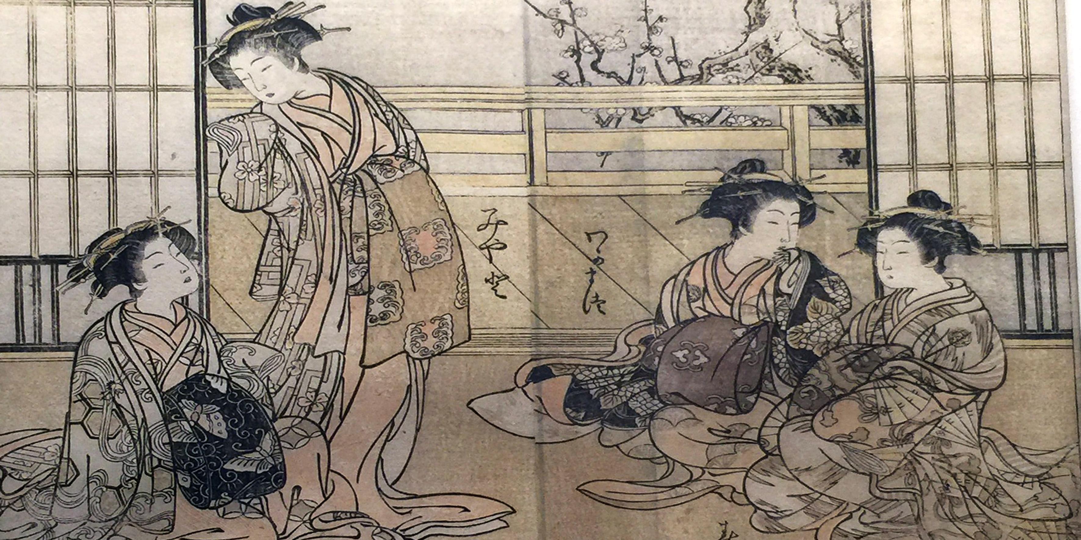 Donne a confronto nelle case da tè-1776- Xilografia policroma su carta da gelso-Shigemasa Kitao e Shunsho Katsushika-Arte giapponese