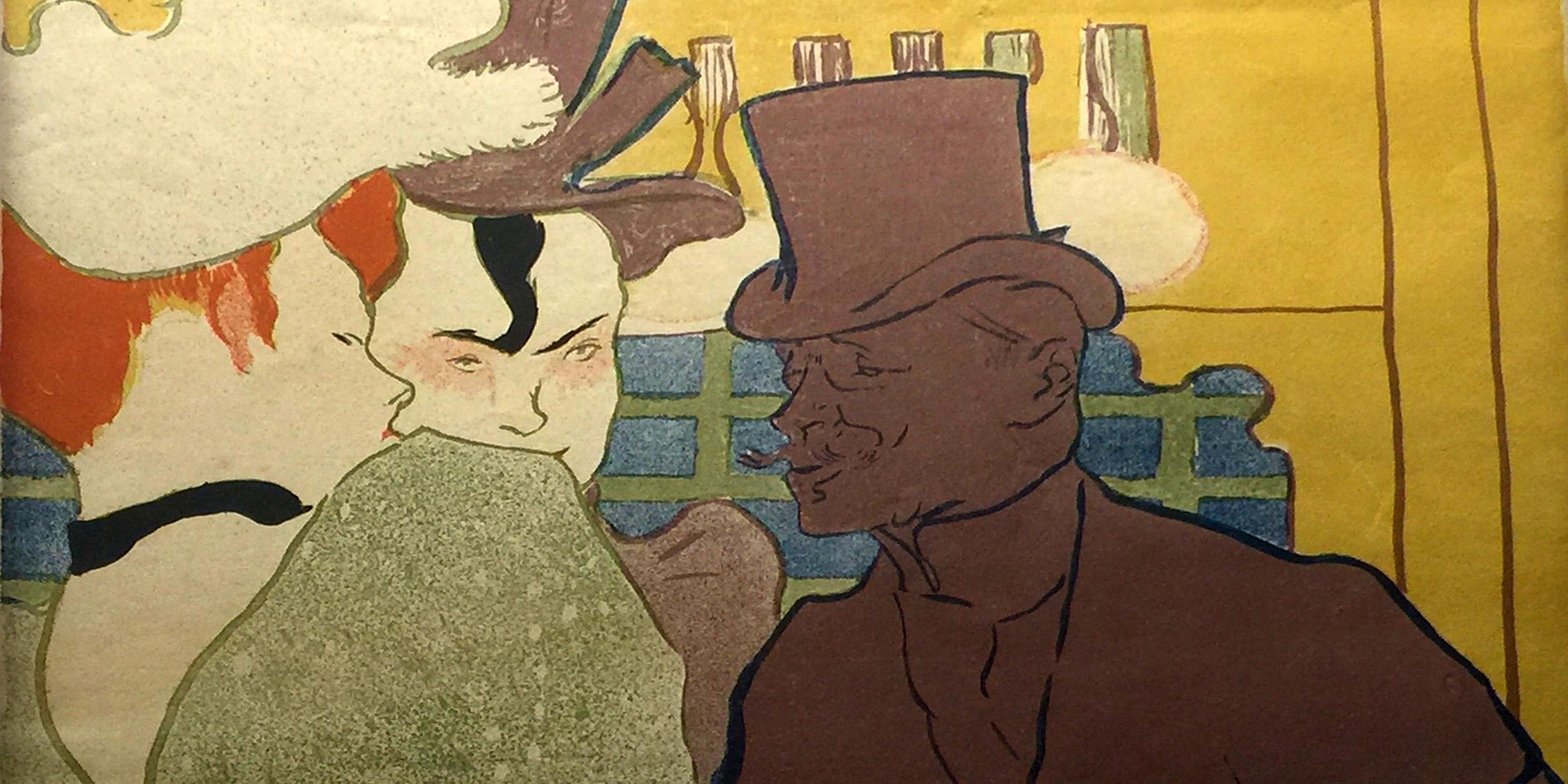 L'inglese al Moulin Rouge-Litografia a colori-1892-Toulouse Lautrec
