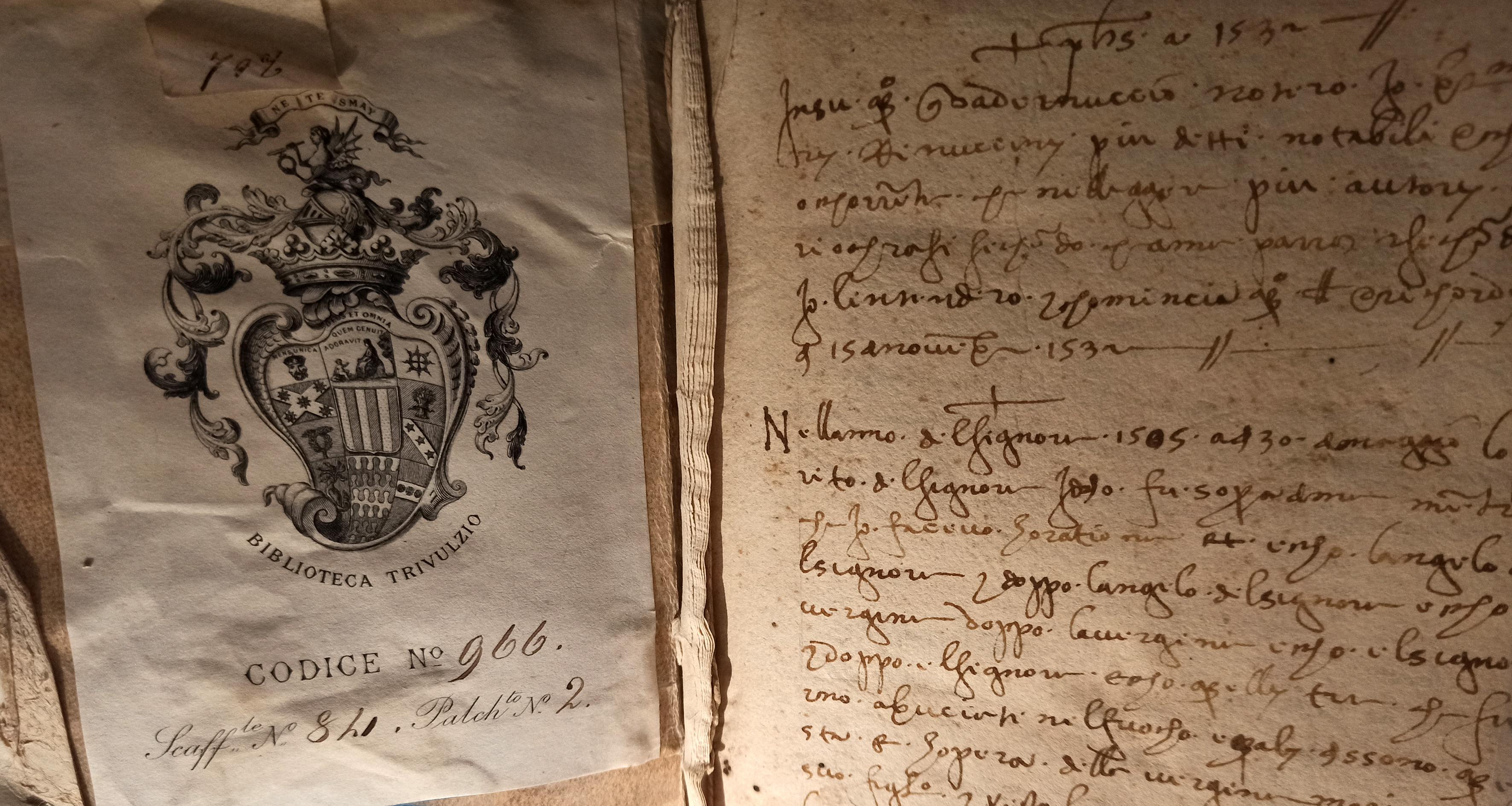Quaderno di ricordi di Bartolomeo Rinuccini, inchiostro bruno su carta 1532-1548. Biblioteca Trivulziana